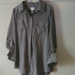 Chico's tan button dress shirt. Large. #190